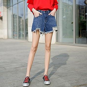 3175578ca YYJZJW Señora Shorts Ms. Shorts Faldas Cortas Agujeros Denim Shorts ...