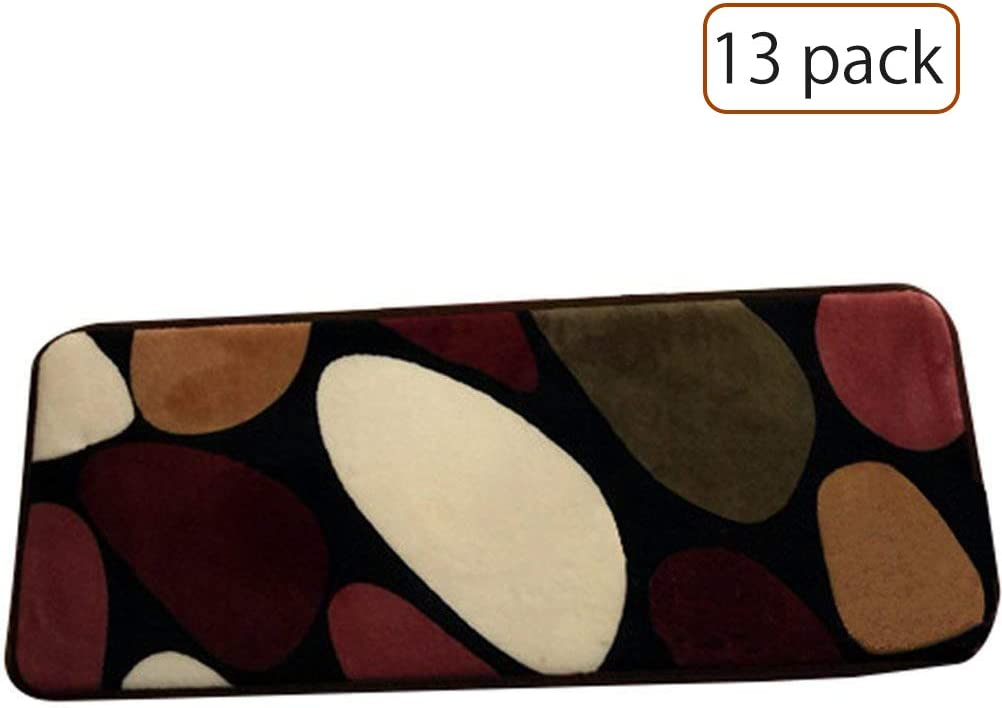 """TINTON LIFE Rectangle Stair Rugs Pads Stepping Pads Stair Mats Non-Slip Carpet for Home Hotel Hall-Set of 13 (Colorful Pebbles, 15.75""""7.87"""")"""
