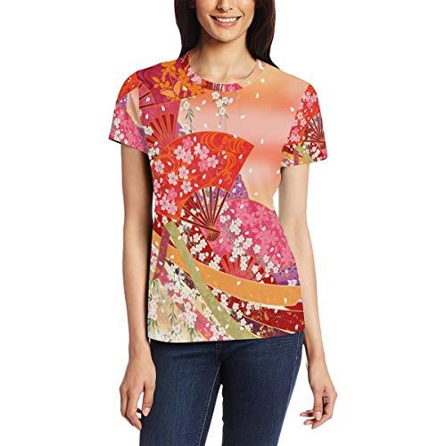 T Shirt for Women Girls Japan Styke Flwer Fans Custom Short Sleeve -