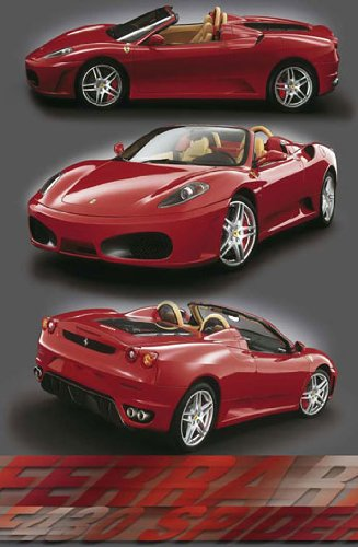 Huge Laminated/ENCAPSULATED Ferrari F-430 Spider Red Sports Car V Poster Measures 36 x 24 inches (91.5 x 61cm