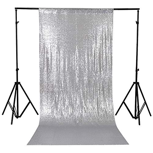 TRLYC 20 Ft X 10 Ft Silver Sequins Backdrop Curtain by TRLYC (Image #7)