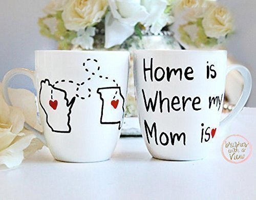 Long Distance Gift for Mom | State Mug | Home is Where My Mom is Mug | 16 oz Hand Painted Coffee Mug | All States and Countries Available
