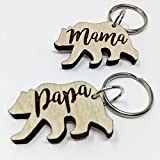 Mama and Papa Bear Keychains Father's Day Gift | Cute Last-Minute Small Gift for Mom and Dad Key-Ring