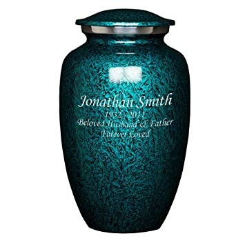 Perfect Memorials Custom Engraved Large Deep Sea Brushed Cremation Urn