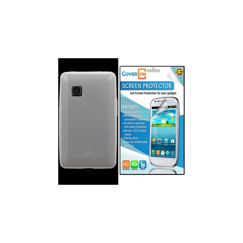 CoverON® LG 840G Silicone Rubber Soft Skin Case Cover Bundle with Clear Anti Glare LCD Screen Protector   Clear