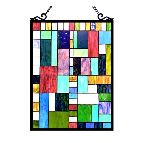 Chloe Lighting Picasso Tiffany-Glass Rectangle Window Panel ()