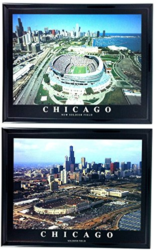 (Chicago Bears New and Old Soldier Field Framed Aerial Photos Set of 2 LL6013)