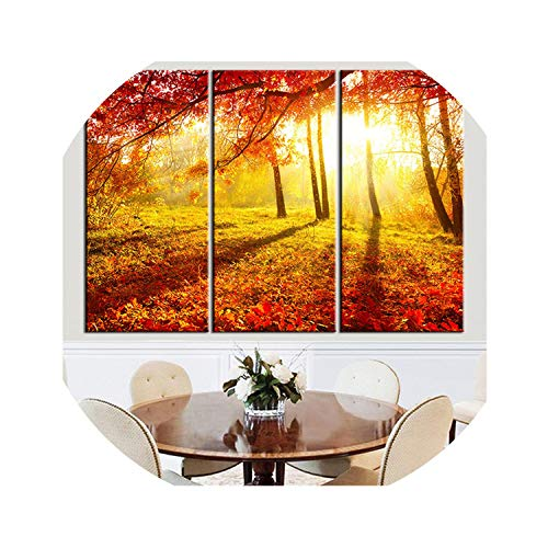 three thousand Unframed Canvas Painting Red Tree Landscape Sun Scenery Home Decor Oil Picture Wall Art Decorative Picture for Living Room 3 Pcs,16x31inchx3pcs