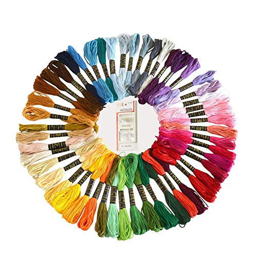 YiwerDer 50 Skeins Embroidery Floss, Rainbow Color Cross Stitch Thread, Sewing Threads with Free Embroidery Needles - Set Bracelet Radiant
