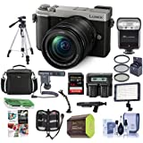 Panasonic Lumix DC-GX9 20.3MP Mirrorless Digital Camera with 12-60mm F3.5-5.6 Lens Silver - Bundle with Camera Bag, 64GB SDXC Card, Zoom Flash, Spare Battery, Tripod, Shotgun Mic, Video Light, More