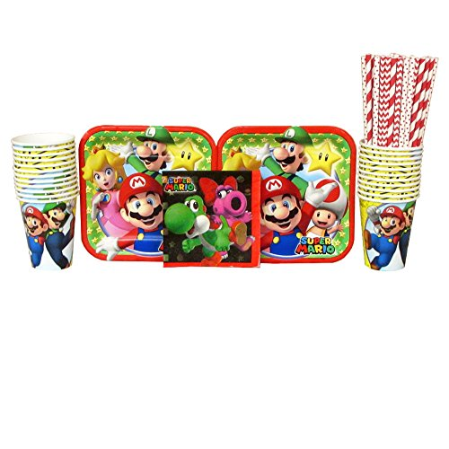 Super Mario Plates (Super Mario Brothers Party Supplies Pack for 16 Guests Includes: Straws, Dessert Plates, Beverage Napkins, and Cups (Bundle for)