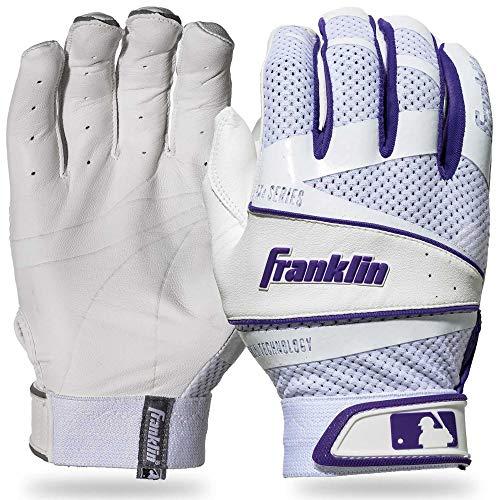 Glove Womens Fastpitch Batting (Franklin Sports Fastpitch Freeflex Series Batting Gloves - White/Purple - Women's Small)