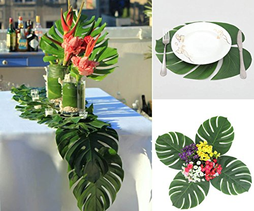 Tropical Monstera Leaves Palm Artificial Silk Fabric Decoration Leaf 12 XLarge Size Hawaiian Luau Jungle Beach Theme Party Supplies Table Decor Accessories 13.8 by 11.4inch -- BIG SIZE (Banana Stem Decoration)