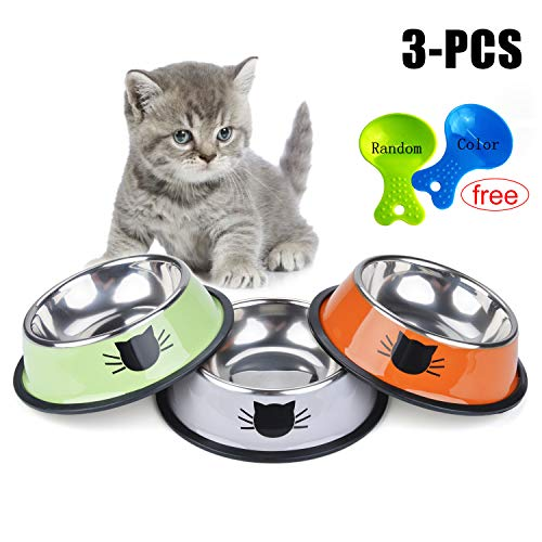 Legendog Cat Bowl Pet Bowl Stainless Steel Cat Food Water Bowl with Non-Slip Rubber Base Small Pet Bowl Cat Feeding Bowls Set of 3 (Multicolor) (Cat Feeding Bowl)
