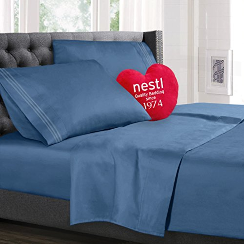 Bed Sheet Bedding Set, King Size, Blue Heaven, 100% Soft Brushed Microfiber Fabric with Deep Pocket Fitted Sheet