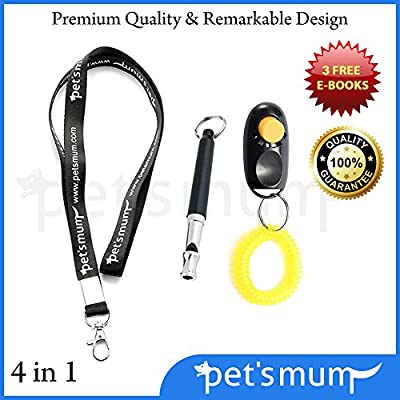 24 Hour Sale - Dog Whistle to Stop Barking and Dog Training Clicker Kit By Pet's Mum Offer Loud Ultrasonic Safe Pet Training Repellent Aid - FREE Lanyard - Bark Control E-books - Lifetime Warranty