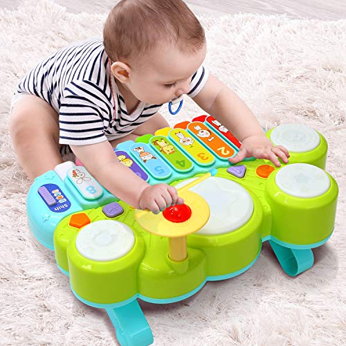 Xylophone Table Music Toys of Ohuhu, Multi-Function Toys Kids Drum Set, Discover & Play Piano Keyboard, Xylophone Set Electronic Learning Toys for Baby Infant Toddler Kids Children Birthday - Drum Set Baby