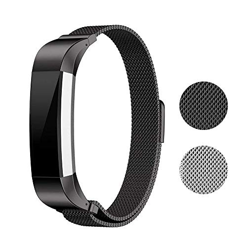 - runme Metal Bands for Fitbit Alta HR Accessory-Stainless Steel Magnet Lock Replacement Bands Sport Strap Smartwatch Fitness Wristbands (Black, 5.5