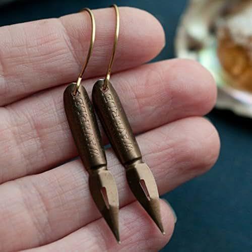 Vintage Pen Nib Earrings with Brass Ear Hooks.
