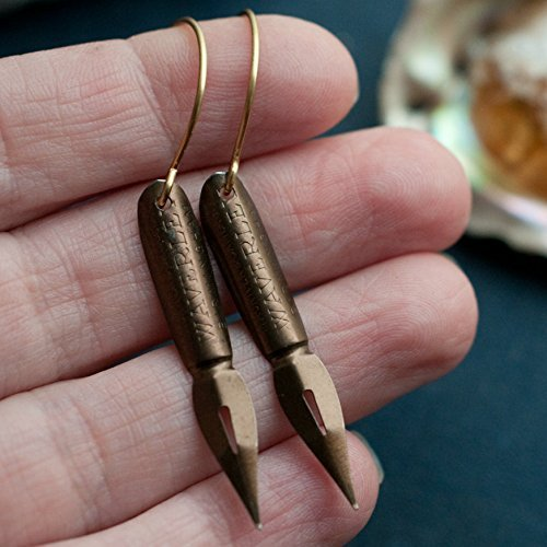 Vintage Pen Nib Earrings with Brass Ear Hooks.