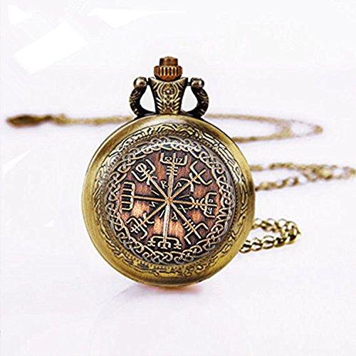 Viking Jewelry Vegvisir Rune Pocket Watch Necklace Occult Pendant (6)