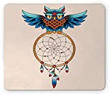 Native American Mouse Pad by Lunarable, Traditional Ornate Owl Holding an Tribal Dreamcatcher Spiritual Ethnic Art, Standard Size Rectangle Non-Slip Rubber Mousepad, Multicolor
