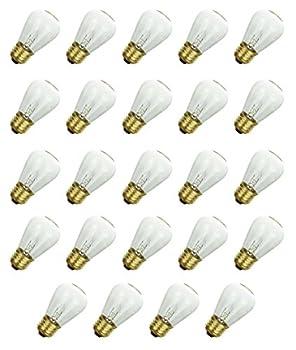Sunlite 11 Watt S14 Warm Incandescent Replacement Glass Bulbs Outdoor E26 Socket, 24 Pack
