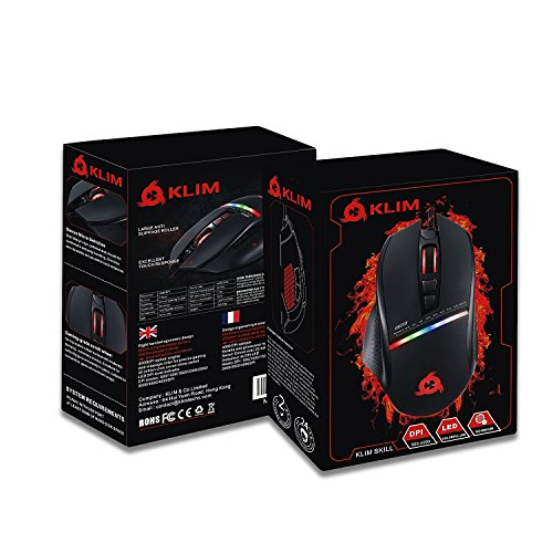 KLIM Skill High Precision Gaming Mouse USB – NEW – Adjustable DPI – Programmable Buttons – Comfortable grip for all hand types – Excellent grip – Black