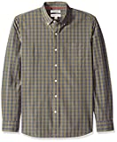 Goodthreads Men's Standard-Fit Long-Sleeve Plaid Poplin Shirt with Button-Down Collar, Olive Check, Large