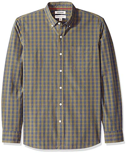 - Goodthreads Men's Standard-Fit Long-Sleeve Plaid Poplin Shirt with Button-Down Collar, Olive Check, Large