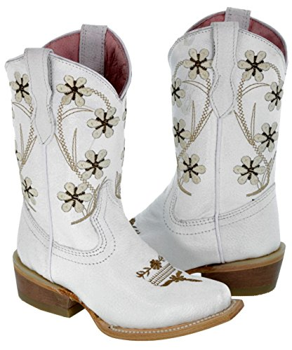 Veretta Boots - Girl's Kid's Full White Flower Embroidered Cowboy Boots Snip Toe 12 Toddler ()