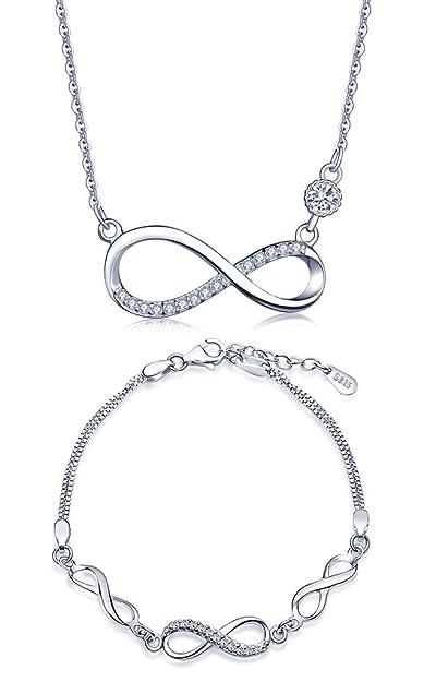 f499bddb8 Yumilok Bijoux ensemble pour femme fille collier et bracelet le symbole  d'infini en argent 925 orné zircon parures élégants