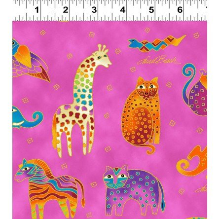 Mythical Jungle Tossed Animals by Laurel Burch from Clothworks 100% Cotton Quilt Fabric Y2137-74M Raspberry