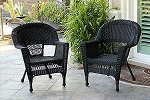 Jeco–w00207-c-2negro silla de mimbre–Set 2