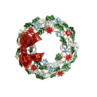 Hot TTjewelry Pretty Christmas Wreath Bowknot Brooch Colorful Austrian Crystal free shipping