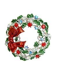 TTjewelry Pretty Christmas Wreath Bowknot Brooch Colorful Austrian Crystal