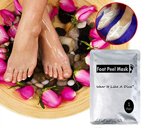 Diva Feet Foot Peel Mask Top Rated   Exfoliates By Peeling Dry Cracked Rough Dead Skin For Baby Soft And Smooth Feet  Home Spa   1  Pair   By Wear It Like A Diva