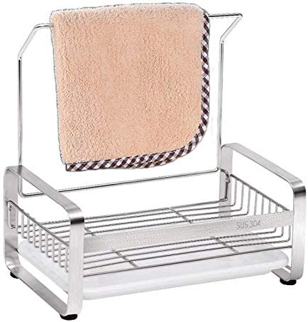 Amazon Com Nilican Rag Rack Drain Rack Tableware Kitchen Sponge Rack Sink Caddy Cleaning Brush With Drain Pan Stainless Steel 304 Kitchen Dining