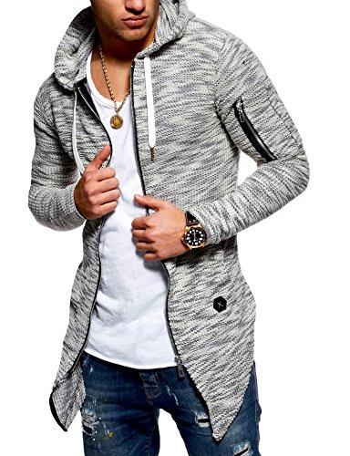 MT Styles Herren Strickjacke mit Kapuze Sweatjacke Kapuzenpullover Pullover MT-7532 [Grau, XXL]