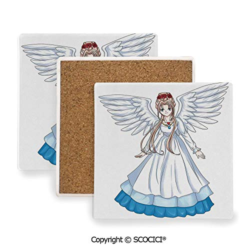 Ceramic coaster With wood Bottom Protection, For Mugs, Wine Glasses, Protects Furniture Square,Anime,Cartoon Illustration of Cute Angel Wings and Flowers,3.9