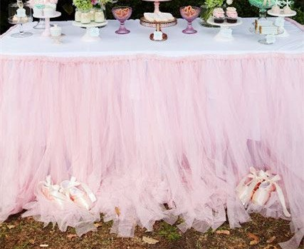 Originals Group Tutu Table Skirt ,Baby Pink Tulle Tutu Table Skirt Decor, Birthday Event Wedding Party Decoration (Pink Table Skirt)