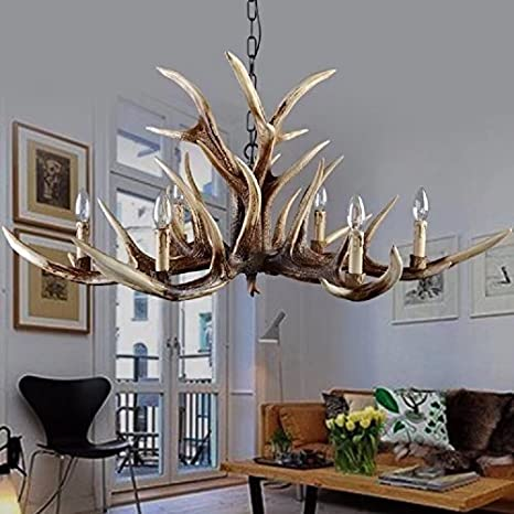 Shf Resin Antler Chandeliers Faux Antler Fixture 6 Light 4 Feet Matching Chain Bulbs Not Included Amazon Com