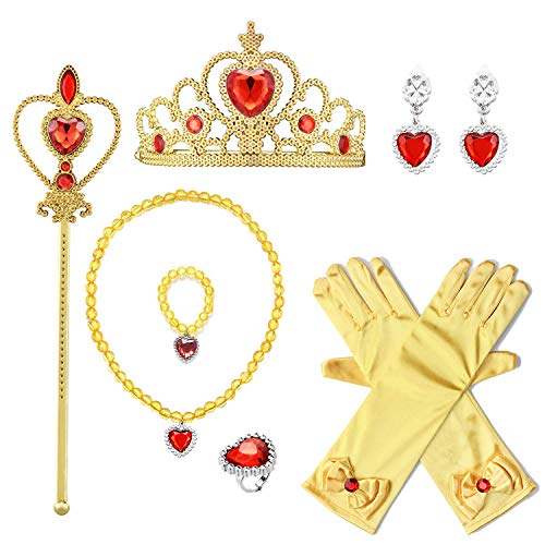 T-Trees Princess Dress up Accessories Gloves Tiara Crown Wand Necklaces Bracelet Rings Earrings Presents for Kids Girls (Belle) -