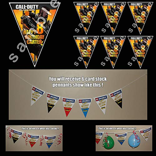 Call of Duty Black Ops 4 Personalized Birthday Pennant Banner (Call Of Duty Black Ops Birthday Party Supplies)