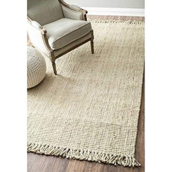 nuLOOM NCCL01E Handwoven Chunky Loop Jute Rug 3 x 5 Off White 3/' x 5/' nuLOOM DROPSHIP 200NCCL01E-305