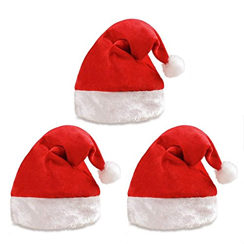 Rabbitgoo Santa Hat with Plush Trim Classic Red Christmas Hat Adults Children Costume Velvet Plush Hat for Cosplay/Party/ Holiday/Xmas Tree Decoration (3 Pack) -