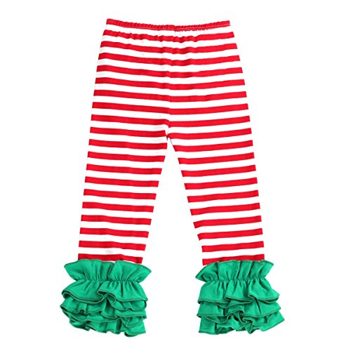 Toddler Girls Icing Ruffle Pants Kids Long Boutique Triple Ruffled Leggings Pants Little Big Sisters Solid Color Elastic Wast Tights Trousers Baby Cotton Layers Bottoms Activewear Red Stripes 4-5Y
