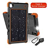 Solar Charger Type C 13500mAh, Hobest Dual Input/Output 3A max Solar Phone Charger, Portable Outdoor Solar Power Bank with Whistle Compass (Orange)