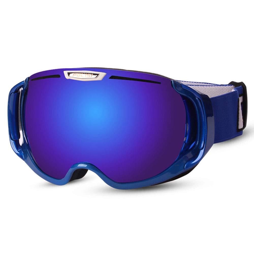 WJ スキーゴーグル スキーゴーグル - PC、ダブルアンチフォグ、UVプロテクション、近視、大人のユニセックスプロの屋外スキーと登山器具大球状のHDゴーグルをもたらすことができる - 5色 /-/ (色 : 青 frame colorful 青) 青 frame colorful 青