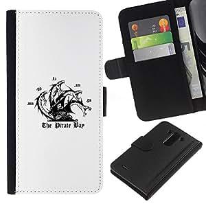 """JackGot ( The Pirate Bay"""" ) LG G3 la tarjeta de Crédito Slots PU Funda de cuero Monedero caso cubierta de piel"""